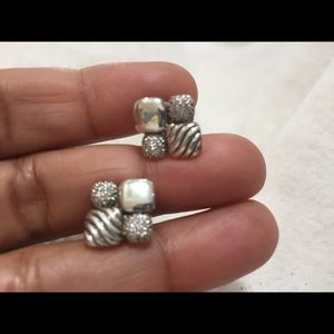 David Yurman diamond and silver mosaic earrings
